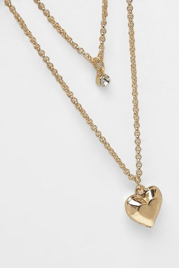 Womens Gold Simple Heart Layered Necklace