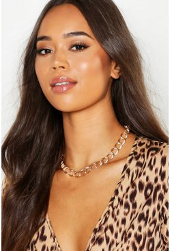 Womens Gold Simple Chunky Chain Choker