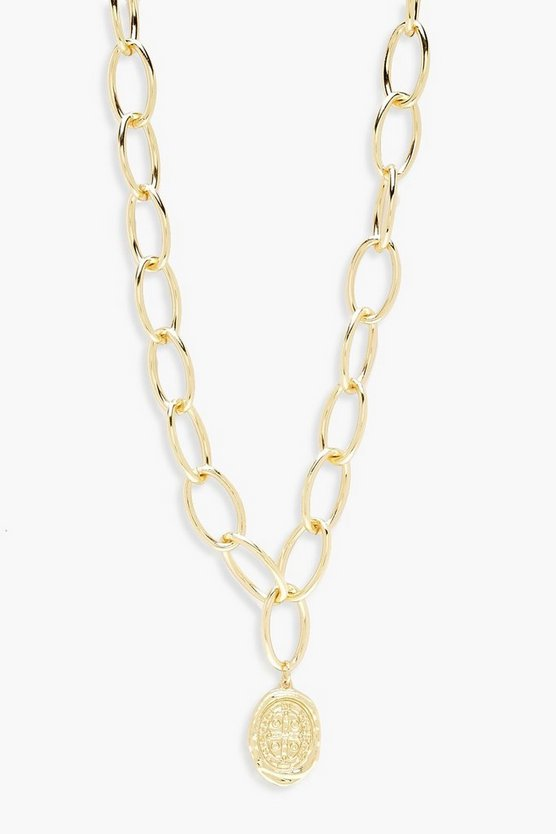 Womens Gold Oval Coin Linked Chunky Chain Necklace