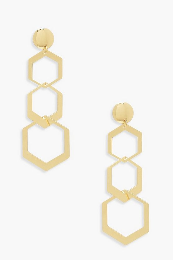 Womens Gold Hexagon Drop Earrings