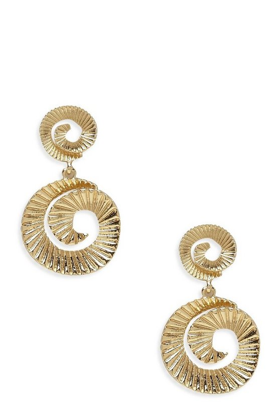 Pleated Spiral Double Circle Earrings