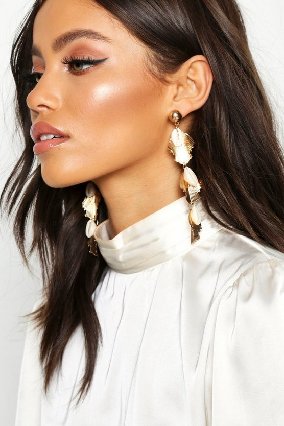 Shell & Pleated Metal Statement Earrings