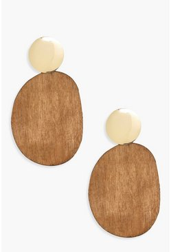Womens Brown Gold Stud Wood Statement Earrings