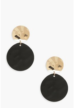 Womens Black Hammered Matte Contrast Circle Earrings