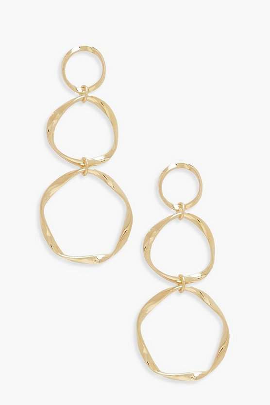 Twisted Triple Circle Earrings