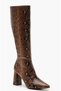 Womens Brown Snake Print Knee High Boots