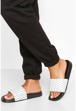 Sandalias con eslogan Woman Repeat, Negro
