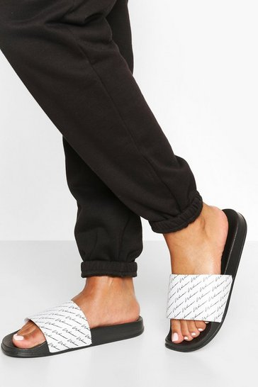 Womens Black Repeat Print Woman Slogan Sliders