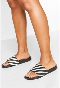 Black Stripe Woman Slogan Sliders