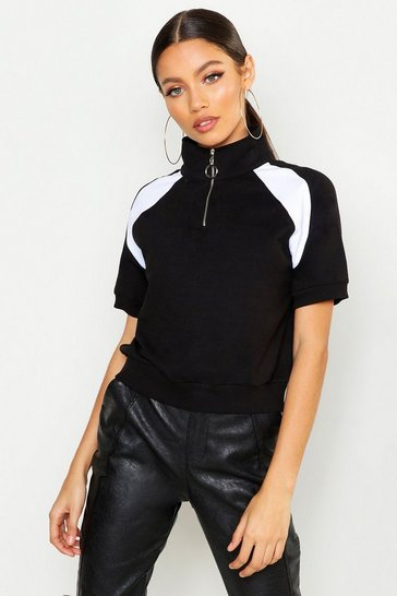 Womens Black Short Sleeve Half Zip Crop Sweat