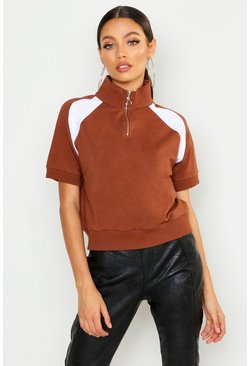Womens Camel Short Sleeve Half Zip Crop Sweat