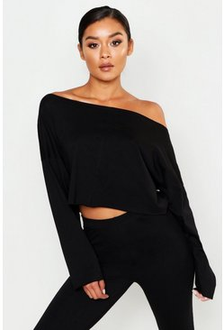 Womens Black Off The Shoulder Cropped Cotton Sweater
