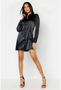Womens Black Satin Self-Fabric Button Shirt Dress