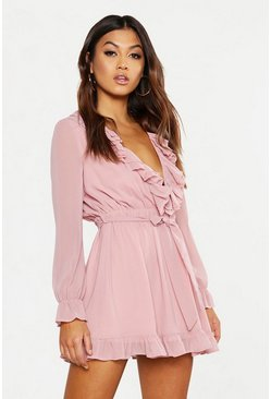 Womens Blush Ruffle Plunge Front Skater Dress