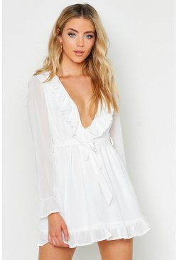 Womens White Ruffle Plunge Front Skater Dress