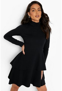 Womens Black Crepe Long Sleeve Tiered Skater Dress