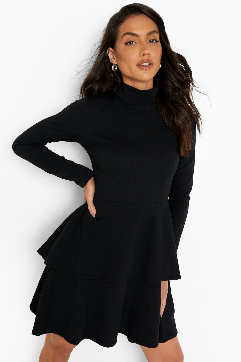 cd6c703f5 Crepe Long Sleeve Tiered Skater Dress | Boohoo