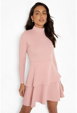 Womens Blush Crepe Long Sleeve Tiered Skater Dress