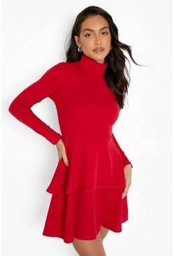 Womens Red Crepe Long Sleeve Tiered Skater Dress