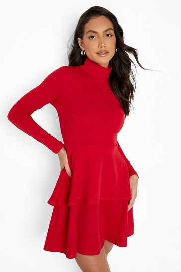 Red Crepe Long Sleeve Tiered Skater Dress