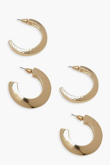 Womens Gold Chunky & Textured Hoop Earrings