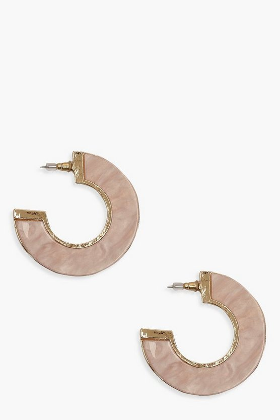 Pale Pink Resin Gold Contrast Hoops