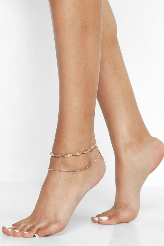 Twist Chain Anklet Pack
