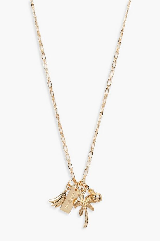Womens Gold Summer Charm Linked Necklace