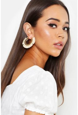 Womens Cream Raffia Hoop Earrings