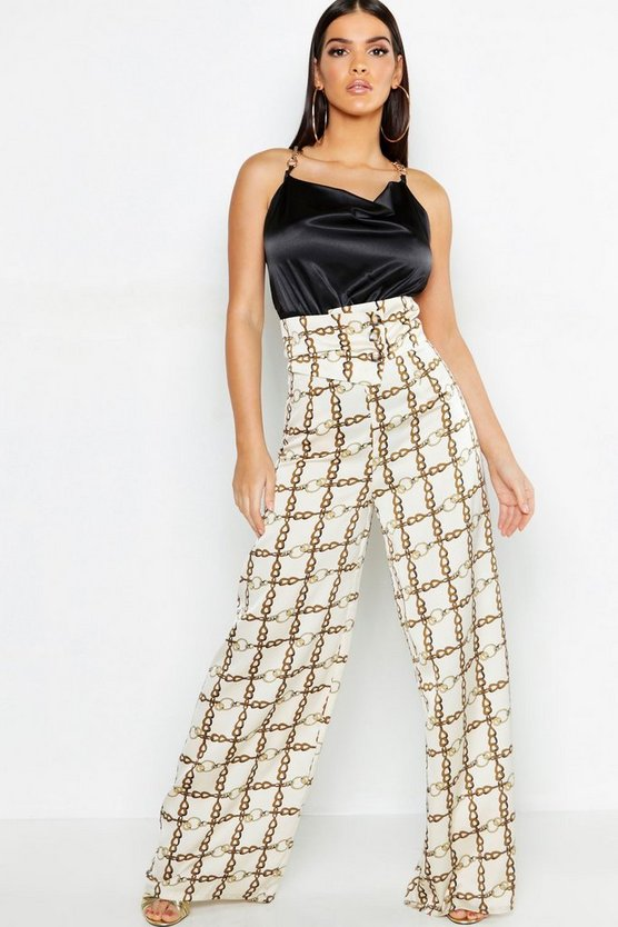 Womens Ivory Chain Print Satin Cut Out Wide Leg Trouser