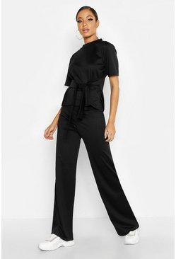 Womens Black Wrap Short Sleeve T-Shirt + Wide Leg Trouser Co-Ord