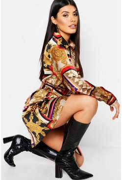 Womens Cream Satin Chain Print Belted Shirt Dress