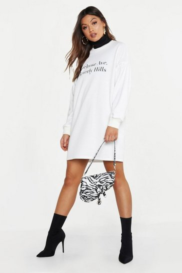 Womens White Melrose Balloon Sleeve Sweatshirt Dress
