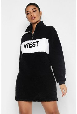 Womens Black West Zip High Neck Borg Sweat Dress