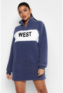 Womens Navy West Zip High Neck Borg Sweat Dress