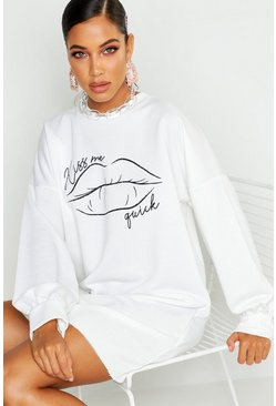 Womens White Lips Balloon Print Sweatshirt Dress
