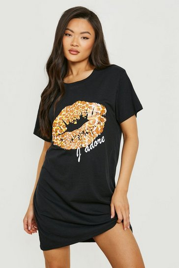 Womens Black Leopard Print Lips T-Shirt Dress