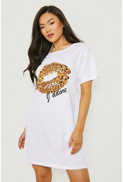Womens White Leopard Print Lips T-Shirt Dress