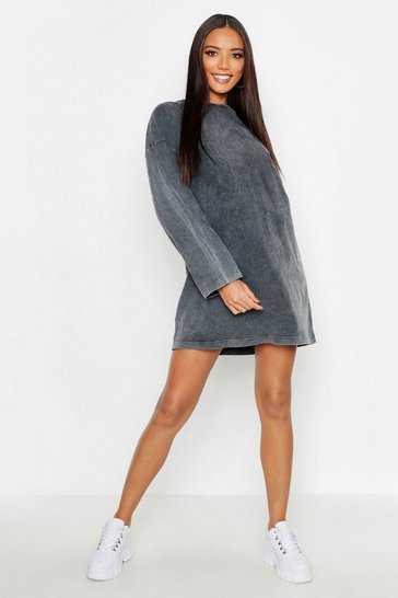 Womens Charcoal Long Sleeve Washed Oversized T-Shirt Dress