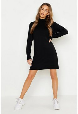 Womens Black Balloon Sleeve Roll Neck T-Shirt Dress