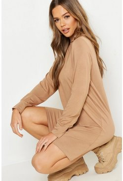 Womens Camel Balloon Sleeve Roll Neck T-Shirt Dress