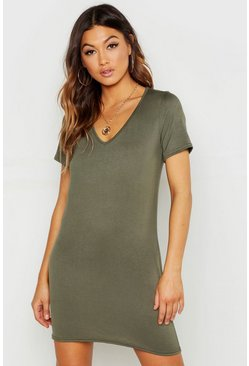 Womens Khaki V Neck Short Sleeve T-Shirt Dress