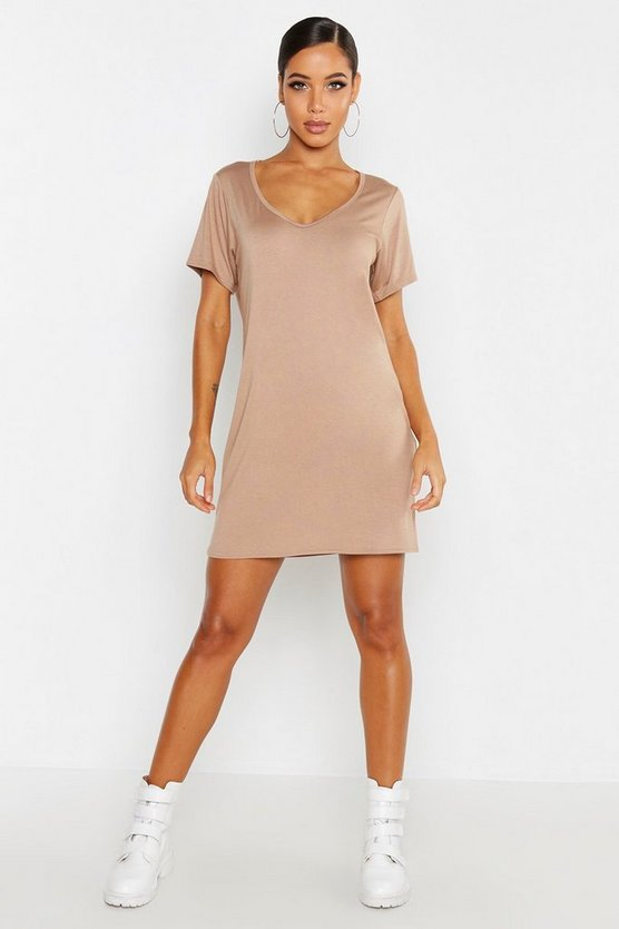 V Neck Short Sleeve T-Shirt Dress