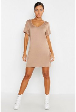 Womens Stone V Neck Short Sleeve T-Shirt Dress