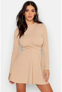 Womens Stone Long Sleeve Wrap Front Skater Dress