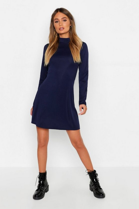 High Neck Long Sleeve Swing Dress