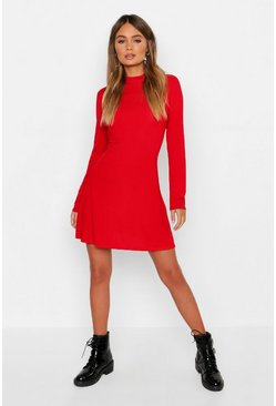Womens Red High Neck Long Sleeve Swing Dress