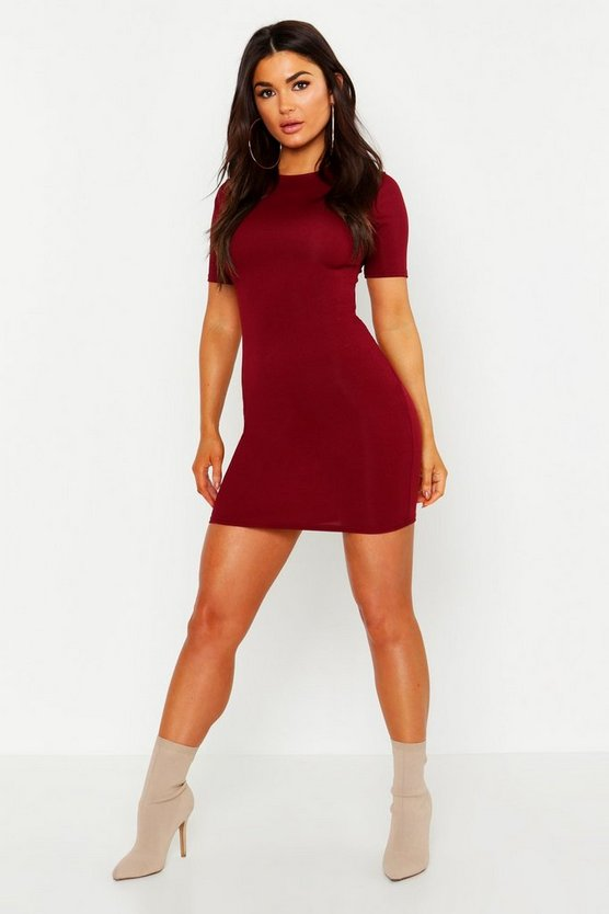 Womens Berry Crew Neck Cap Sleeve Bodycon Dress