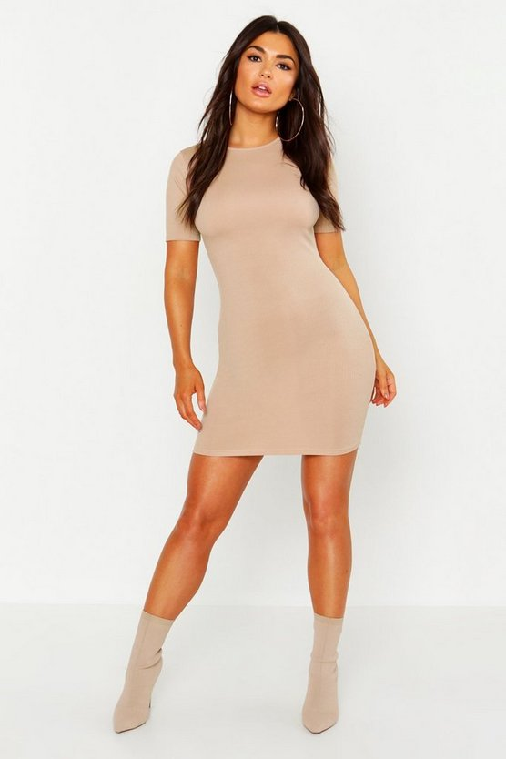 Womens Stone Crew Neck Cap Sleeve Bodycon Dress