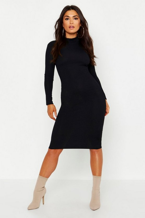 Womens Black High Neck Long Sleeve Ribbed Midi Dress
